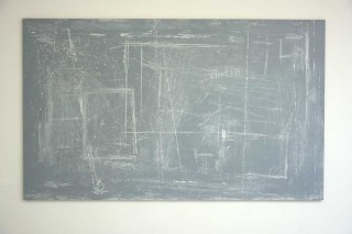 'A controversial thought in a continuum', 2015, wood/paint/chalk, 150x250 cm, €5900